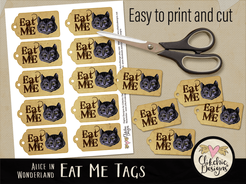 Alice in Wonderland Cheshire Cat Eat Me Printable Tags