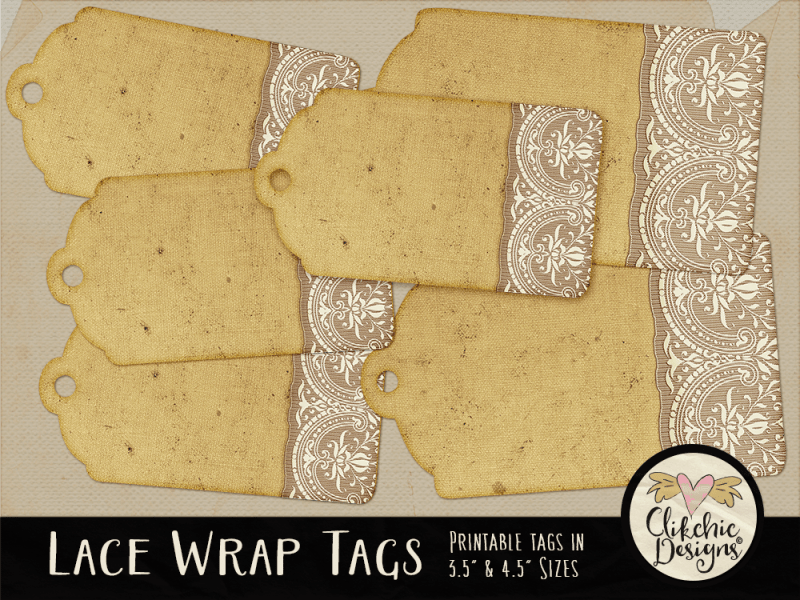 Printable Lace Wrap Gift Tags
