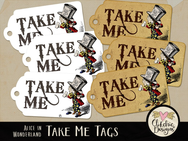 Alice In Wonderland Printable Take Me Mad Hatter Tags
