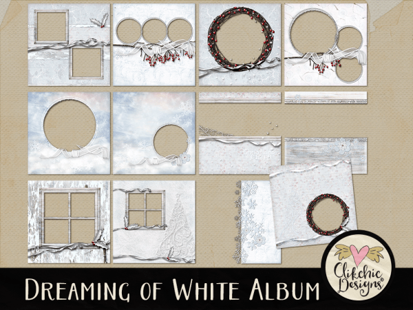 Dreaming of White Quick Page Digital Scrapbook Album