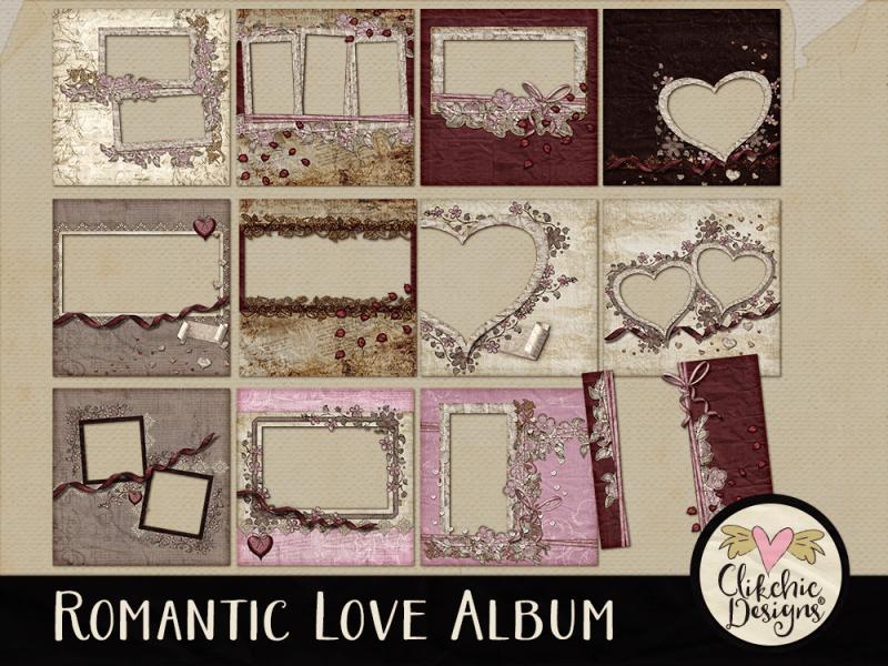 Romantic Love Digital Scrapbook Quick Page Album