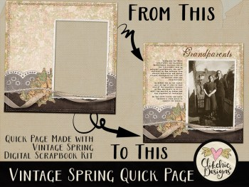 Vintage Spring Digital Scrapbook Quick Page