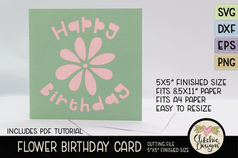 Flower Happy Birthday Card SVG Cutting File