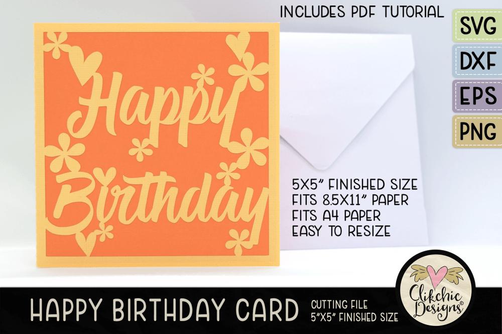 Happy Birthday Flower Card SVG Cutting File