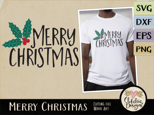 Merry Christmas SVG Word Art, Merry Christmas Vector