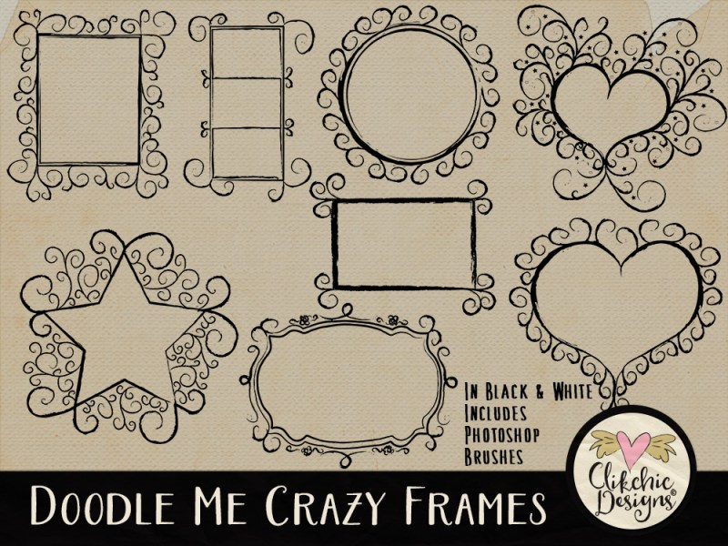 Doodle Me Crazy Frames & Photoshop Brushes