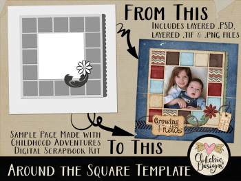 Around the Square Layered Photoshop Template