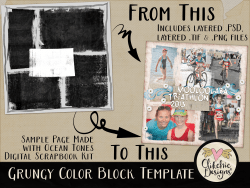 Grungy Colour Block Layered Photoshop Template