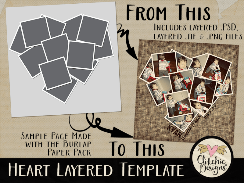 Heart Photos Layered Template