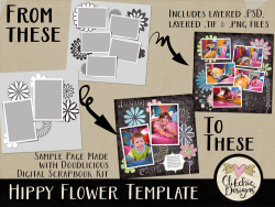 Hippy Flower Layered Photoshop Templates