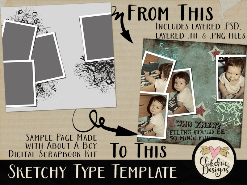 Sketchy Type Layered Photoshop Template