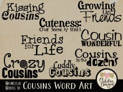 Whimsical Words of Cousins Word Art