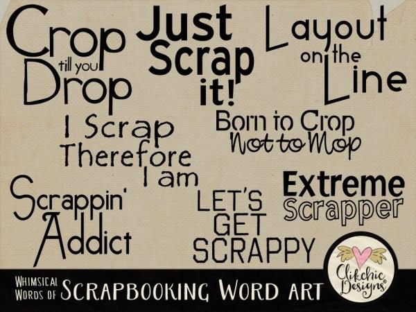 Whimsical Words of Scrapbooking Word Art
