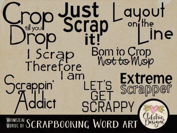 Whimsical Words of Scrapbooking Word Art