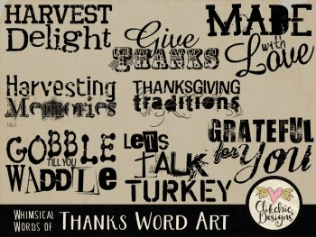 Whimsical Words of Thanks Word Art