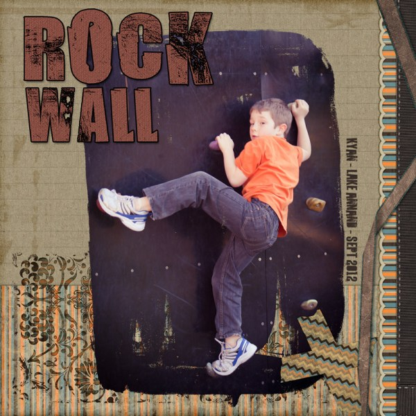 Rock Wall Layout created with Dreaming Digital Scrapbook Kit & Messy Painted Clipping Masks