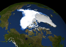 Visualization of the 2007 Arctic sea ice minimum