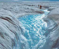 Flowing meltwater from the Greenland ice sheet