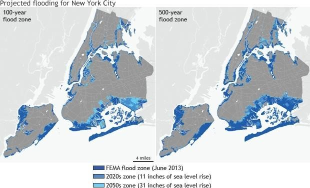 Figure 2 Shows A Map Of New York City With Expected Flood Zones That Are Based On The Projection Of 2 5 Foot Global Sea Level Rise By The Year 2050