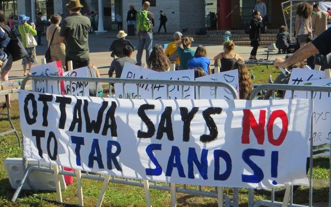 Banner at rally against EnergyEast pipeline, Ottawa, September 28, 2013