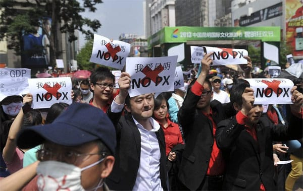 Anti-PX protest in the city of Kunming in 2013