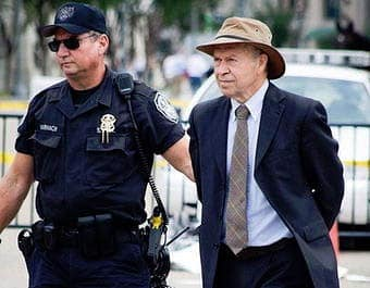 """James Hansen being arrested at a protest against the Keystone XL pipeline, which he calls the fuse to the biggest carbon bomb on the planet,"""" because it would carry tar sands crude."""