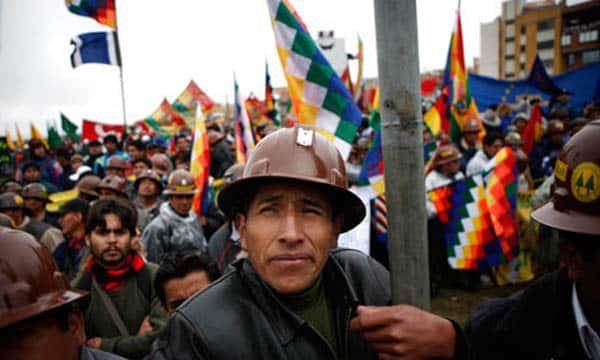 Miners rally in El Alto, Bolivia