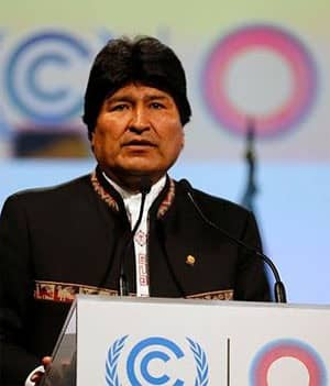 Evo Morales speaking at COP20 in Lima