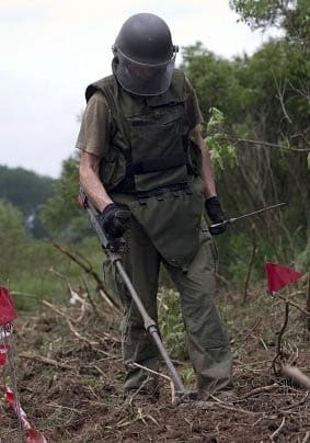 Searching for land mines in Croatia