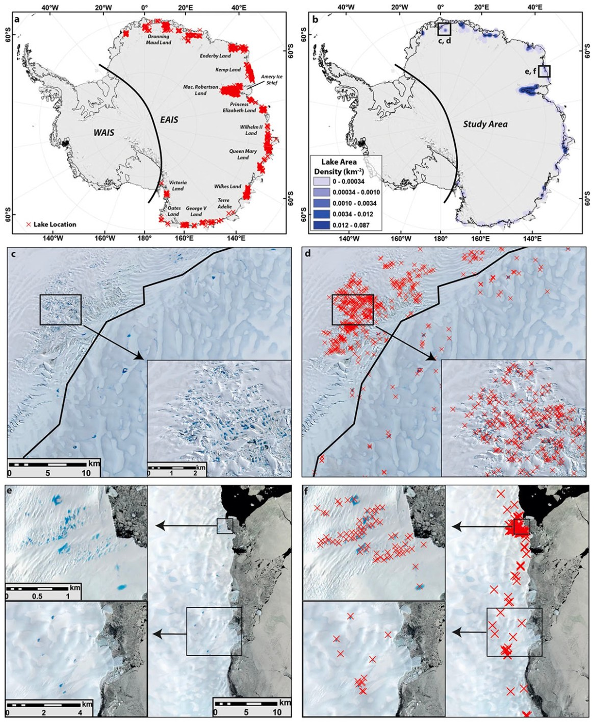 """Fig. 5: """"Location and density of supraglacial lakes (SGLs) in East Antarctica, alongside examples. (a) Location of 65,459 mapped lakes that appeared on imagery from January 2017, each marked by a red cross. (b) Lake density map showing the cumulative area of SGLs within 1 km2 cells using a 50km search radius. (c,d) Sentinel 2A satellite image (12th Jan 2017) of the high density of lakes on the Jutulstraumen Glacier, Dronning Maud Land. Note that lakes have developed above and beyond the grounding line (thick black line), but there is a clustering of lakes 5–10km down-ice from the grounding line. (e,f) Sentinel 2A satellite image (27th Jan 2017) of clusters of lakes towards the ice sheet margin in Kemp Land."""" (Stokes et al., click on the image to see the full report)."""