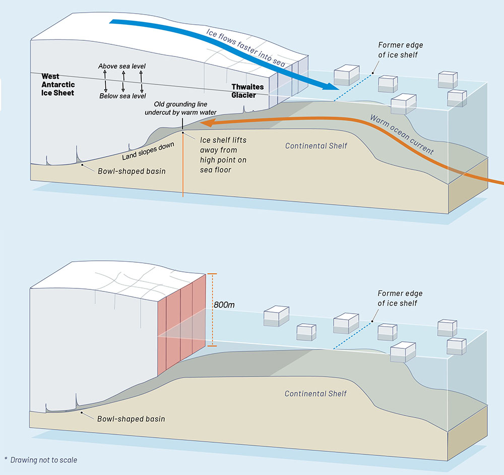 Fig. 3: 'Bottom up' melting: the ice is normally stabilized by sitting on the seafloor. As warm ocean currents eat away at the base, the ice thins, and lifts away from the seafloor, and breaks, losing its ability to act as a brake on the flow of ice from the continent. Click the image for the interactive webpage.