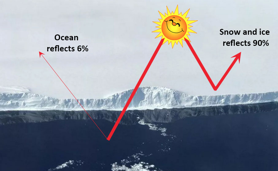 Fig 1: The Albedo Effect over snow and ice versus water. (Image: NASA)