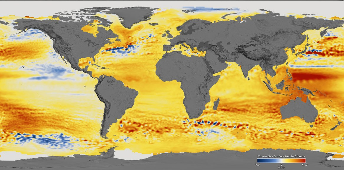 Fig. 1. Sea level change 1992 - 2014, based on data collected from the TOPEX/Poseidon, Jason-1, and Jason-2 satellites. Blue regions are where sea level has gone down, and orange/red regions are where sea level has gone up. Since 1992, seas around the world have risen an average of nearly 5cm, however this is just an average. The color range for this visualization shows regional variations -7cm to +7cm, though measured data extends above and below 7cm. This particular range was chosen to highlight variations in sea level change, not absolute changes, as some extreme changes are temporary (see Fig. 5).