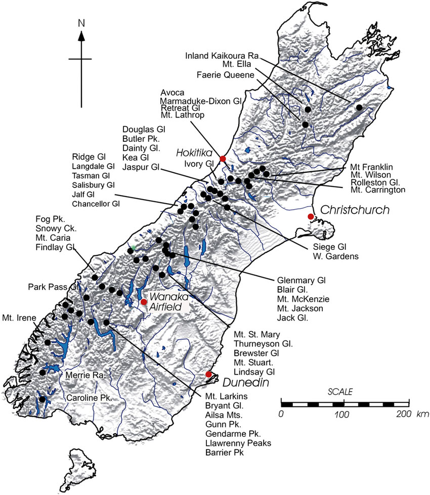 Fig. 2: The main glaciers in the South Island (Image: Chinn et al.)