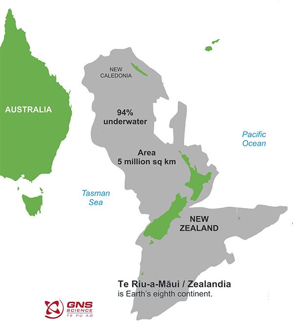 Fig.1: The lost continent of Zealandia (grey) still beneath the ocean.