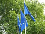 European flags in front of the Council of Europe, Strasbourg, Photo by Elwood j blues