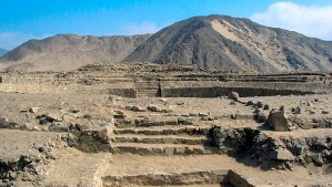 Temple of the Amphitheatre Photo in Caral, Peru.