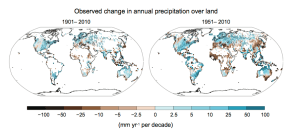 Maps of observed precipitation change from 1901 to 2010 and from 1951 to 2010