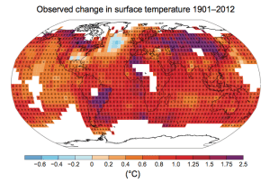 Observed change in temperatures 1901-2012