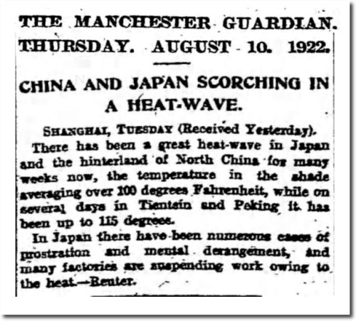 china japan heat waves 1922