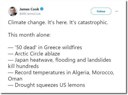 james cook bbc tweet catastrophic weather