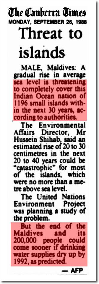 maldives sea level 1988 Canberra Times