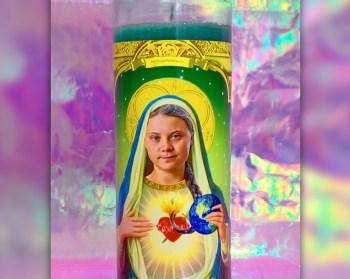 saint greta votive candle