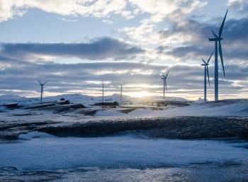 frozen wind farm landscape