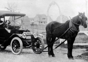 horses towing car