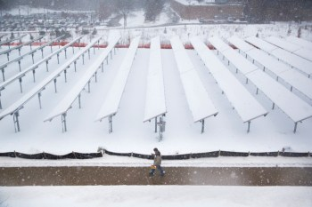 solar panels covered snow