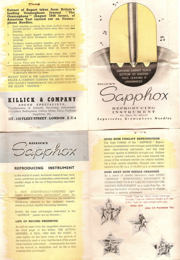Killick's Sapphox - sales pamphlet by Killick & Company