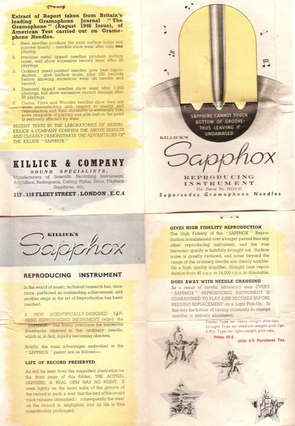 Killick's Sapphox - sales pamphlet by Killick & Company