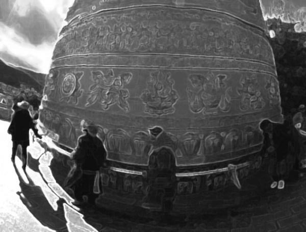 Tibetan prayer wheel. Original photograph byXinhua/Lin Yiguang