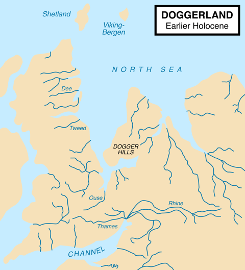 Mesolithic - Map showing hypothetical extent of Doggerland (c. 10,000 BC)